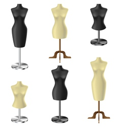 Black and white mannequin set vector