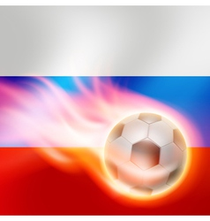 Burning football on russia flag background vector