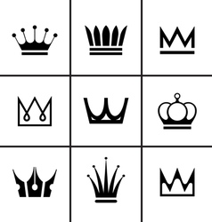 Crowns icons set vector