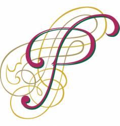 Script letter p vector