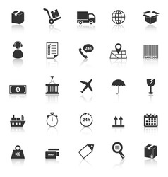 Logistics icons with reflect on white background vector