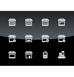 Shop icons on black background vector