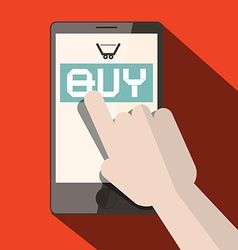 Cell phone with buy title and cart with hand vector