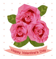 Happy valentines day with pink rose vector
