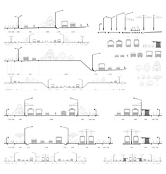 Set of city road cross-sections vector
