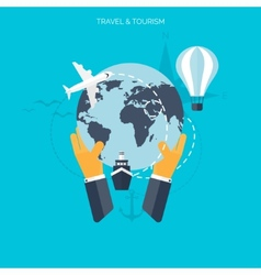 World travel concept background flat icons vector