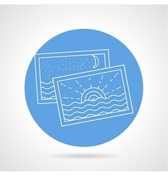 Summertime photos white line icon vector