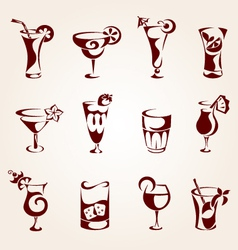 Cocktails icons vector
