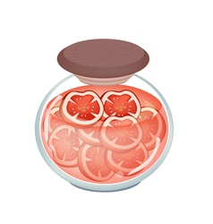 A jar of pickled tomatoes vector