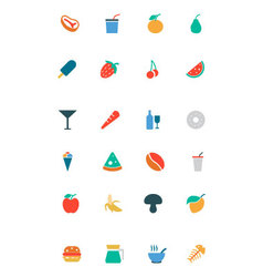 Food and drinks colored icons 14 vector