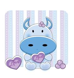 Cartoon love cow vector