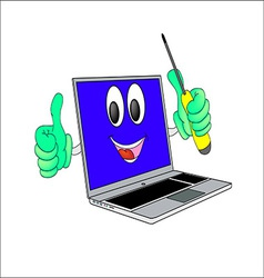 Merry laptop with yellow screwdriver in his hand vector