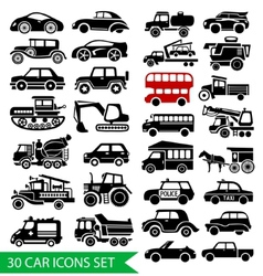 30 car icons set black auto web pictogram vector
