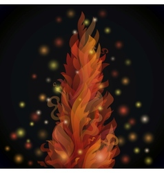 Different fire flames on a black background with vector