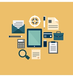 Flat concept of documents for business vector