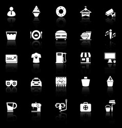 Franchisee business icons with reflect on black vector