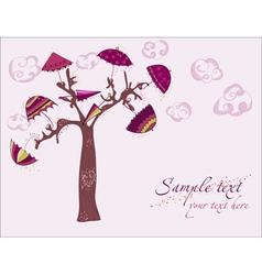 Love tree under umbrellas vector