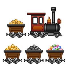 Train with mine tubs vector
