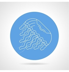 Jellyfish white line icon vector