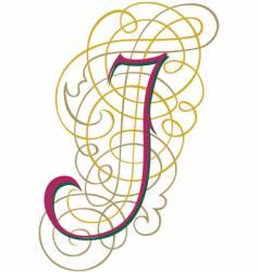 Script letter j vector