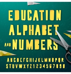 Education alphabet and numbers cut out from paper vector