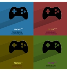Color set gaming joystick flat modern web button vector