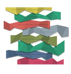 3d colored paper banners origami style vector