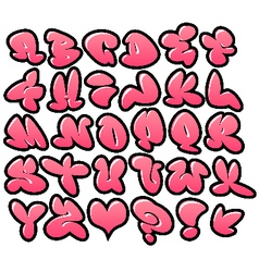 Graffiti bubble fonts with gloss and outline varia vector