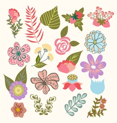 Set of lovely flowers in vintage-style vector