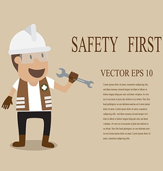 Technician full with personal protection equipment vector