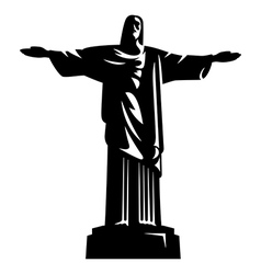 Statue of christ the redeemer vector