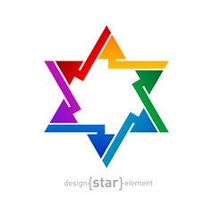 Abstract design element rainbow star on white vector