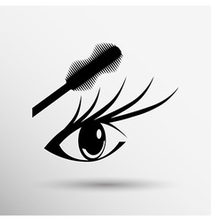 Mascara eye brush paint makeup stroke isolated vector