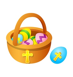 Icon easter egg and basket vector