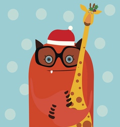 Holiday card with red monster and giraffe vector