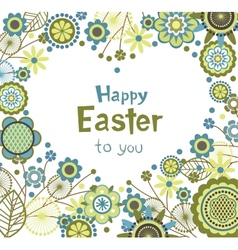 Easter greeting card with floral frame in heart vector