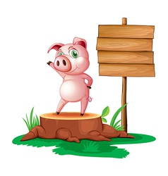 A pig standing beside an empty wooden signboard vector