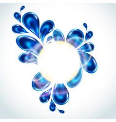 Water splash in round shape curl frame vector