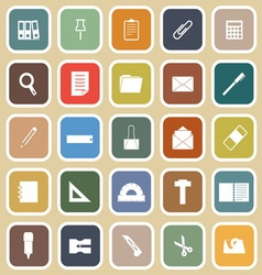 Stationary flat icons on yellow background vector