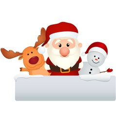 Santa claus with reindeer and snowman vector