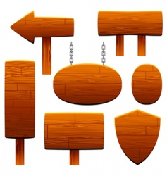 Wooden sign set vector
