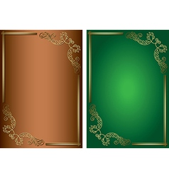 Green and brown backgrounds with golden decoration vector