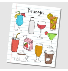 Beverages doodles lined paper colored vector