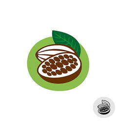 Cocoa pod with beans badge symbol vector