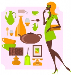 Urban shopping girl vector