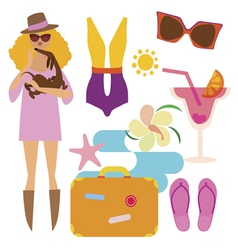 Fashionable woman on vacations vector