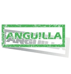 Green outlined anguilla stamp vector
