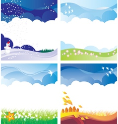 Four season backgrounds set vector
