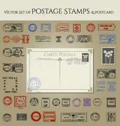 Vintage antique postcard and postage stamps vector