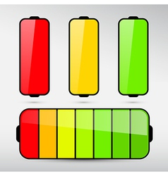 Battery life icon set isolated on grey background vector